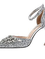 cheap -Women's Wedding Shoes Spool Heel Pointed Toe Rhinestone Synthetics Sweet / British Fall / Spring & Summer Black / Champagne / Gold / Party & Evening