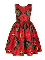 cheap -Kids Girls' Active Sweet Floral Print Sleeveless Knee-length Dress Red