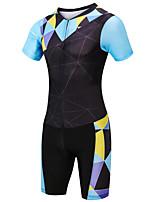 cheap -21Grams Women's Short Sleeve Triathlon Tri Suit Black / Blue Plaid / Checkered Bike Clothing Suit UV Resistant Breathable Quick Dry Sweat-wicking Sports Plaid / Checkered Mountain Bike MTB Road Bike