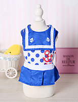cheap -Dog Costume Dress Dog Clothes Breathable Red Blue Costume Beagle Bichon Frise Chihuahua Fabric Polka Dot Color Block Casual / Sporty Cute XS S M L XL