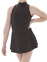 cheap -Figure Skating Dress Women's Girls' Ice Skating Dress Black Spandex High Elasticity Training Competition Skating Wear Solid Colored Sleeveless Ice Skating Figure Skating