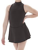 abordables -Robe de Patinage Artistique Femme Fille Patinage Robes Noir Spandex Haute élasticité Entraînement Compétition Tenue de Patinage Couleur Pleine Sans Manches Patinage sur glace Patinage Artistique