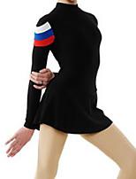 cheap -Figure Skating Dress Women's Girls' Ice Skating Dress Black Spandex High Elasticity Training Competition Skating Wear Multi Color Long Sleeve Ice Skating Figure Skating