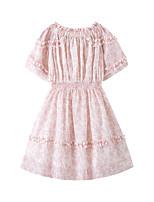 cheap -Kids Girls' Cute Boho Floral Short Sleeve Above Knee Dress Blushing Pink