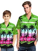 cheap -Daddy and Me Basic Tropical Leaf Floral Print Short Sleeve Regular Regular Shirt Purple