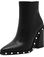 cheap -Women's Boots Chunky Heel Pointed Toe Synthetics Booties / Ankle Boots Sweet / Minimalism Winter / Fall & Winter Black / Party & Evening