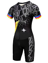 cheap -21Grams Women's Short Sleeve Triathlon Tri Suit Black / Yellow Bike Clothing Suit UV Resistant Breathable Quick Dry Sweat-wicking Sports Graphic Mountain Bike MTB Road Bike Cycling Clothing Apparel