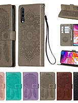cheap -Case For Samsung Galaxy A30/A50/A20 Wallet / Card Holder / with Stand Full Body Cases Solid Colored / Feathers PU Leather For Galaxy A30S/A50S/A40/A60/A70/A80/A90