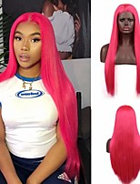 cheap -Synthetic Lace Front Wig Silky Straight Free Part Lace Front Wig Long Pink Synthetic Hair 18-26 inch Women's Cosplay Heat Resistant Party Pink