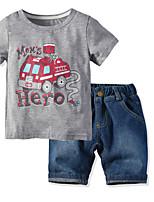 cheap -Kids Boys' Basic Christmas Home Print Cartoon Print Short Sleeve Regular Regular Cotton Clothing Set Light gray