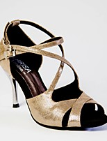 cheap -Women's Latin Shoes PU Heel Slim High Heel Dance Shoes Gold