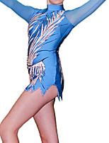 cheap -21Grams Rhythmic Gymnastics Leotards Artistic Gymnastics Leotards Women's Girls' Leotard Blue Spandex High Elasticity Breathable Handmade Jeweled Diamond Look Long Sleeve Training Dance Rhythmic