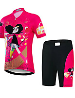 cheap -21Grams Girls' Short Sleeve Cycling Jersey with Shorts - Kid's Black / Red Cartoon Bike Clothing Suit UV Resistant Breathable Quick Dry Sweat-wicking Sports Cartoon Mountain Bike MTB Road Bike Cycling