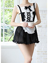 cheap -Women's Lace / Backless / Mesh Uniforms & Cheongsams / Suits Nightwear Jacquard / Solid Colored Black One-Size