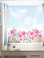 cheap -Fashionable Pink Flowers Window Film & Stickers Decoration Matte / Floral Floral / Flower / Floral PVC(PolyVinyl Chloride) Window Sticker / Matte / Door Sticker