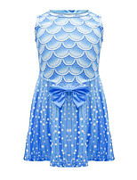 cheap -Kids Toddler Girls' Basic Cute The Little Mermaid Color Block Print Sleeveless Knee-length Dress Blue