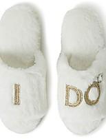 cheap -Women's Slippers & Flip-Flops Flat Heel Round Toe Faux Fur Spring & Summer White / Wedding