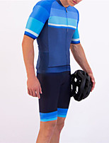 cheap -21Grams Men's Short Sleeve Triathlon Tri Suit Blue Patchwork Bike Clothing Suit UV Resistant Breathable Quick Dry Sweat-wicking Sports Patchwork Mountain Bike MTB Road Bike Cycling Clothing Apparel