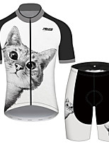 cheap -21Grams Men's Women's Short Sleeve Cycling Jersey with Shorts Black / White Cat Animal Bike Clothing Suit UV Resistant Breathable 3D Pad Quick Dry Reflective Strips Sports Cat Mountain Bike MTB Road