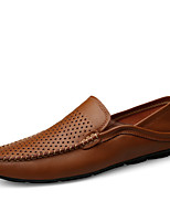 cheap -Men's Moccasin Nappa Leather Fall / Spring & Summer Casual / British Loafers & Slip-Ons Breathable Black / Brown / White