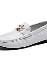 cheap -Men's Printed Oxfords Cowhide Spring / Fall Casual / British Loafers & Slip-Ons Non-slipping Black / Brown / White / Party & Evening
