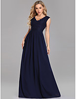 cheap -A-Line V Neck Floor Length Chiffon / Lace Vintage / Elegant Formal Evening / Party Wear Dress with 2020