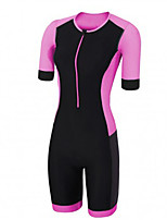 cheap -21Grams Women's Short Sleeve Triathlon Tri Suit Pink / Black Bike Clothing Suit UV Resistant Breathable Quick Dry Sweat-wicking Sports Solid Color Mountain Bike MTB Road Bike Cycling Clothing Apparel