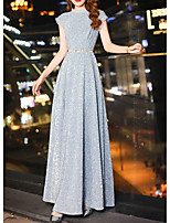 cheap -A-Line Jewel Neck Floor Length Polyester Glittering / Gray Engagement / Formal Evening Dress with Sash / Ribbon 2020
