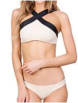 cheap -Women's Halter Neck Halter Cheeky Bikini Tankini Swimwear Swimsuit - Color Block S M L White Black Rainbow