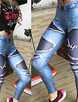 cheap -Women's High Waist Yoga Pants Winter 3D Print Blue Elastane Running Fitness Gym Workout Tights Leggings Sport Activewear Breathable Moisture Wicking Butt Lift Tummy Control High Elasticity Skinny
