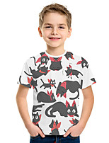 cheap -Kids Boys' Active Street chic 3D Print Short Sleeve Tee Beige