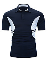 cheap -Men's Daily Weekend Basic / Street chic Polo - Color Block Black & White Black