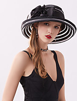 cheap -Queen Elizabeth Audrey Hepburn Retro Vintage Kentucky Derby Hat Fascinator Hat Women's Organza Costume Hat Black / White Vintage Cosplay Party Party Evening