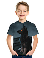cheap -Kids Boys' Active Street chic Wolf 3D Print Short Sleeve Tee Blue