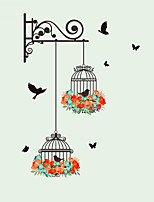 cheap -New Birdcage Flower Flying for Living Room Nursery Room Wall Stickers Vinyl Wall Decals Wall Sticker for Kids Room Home Decor