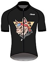 cheap -21Grams Men's Short Sleeve Cycling Jersey 100% Polyester Black Bike Jersey Top Mountain Bike MTB Road Bike Cycling UV Resistant Breathable Quick Dry Sports Clothing Apparel / Stretchy / Race Fit
