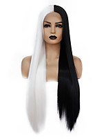 cheap -Synthetic Lace Front Wig Straight Gaga Middle Part Lace Front Wig Long Black / White Synthetic Hair 22-26 inch Women's Heat Resistant Women Hot Sale Black White / Glueless