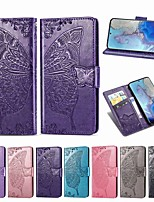 cheap -Case For Samsung Galaxy Note 10/Note 10 Plus/A10s Wallet / Card Holder / with Stand Full Body Cases Butterfly / Solid Colored PU Leather For Galaxy A20S/S20/S20 Plus/S20 Ultra/A51/A71/A81/A91