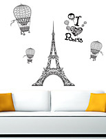 cheap -Eiffel Tower Hot Air Balloon Style Removable Wall Stickers Decals Home Decoration for Liveing Room Bedroom