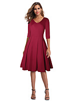 cheap -The Marvelous Mrs. Maisel Retro Vintage 1950s Wasp-Waisted Summer Dress Women's Spandex Cotton Costume Black / Burgundy Vintage Cosplay Party Daily Wear Half Sleeve Knee Length