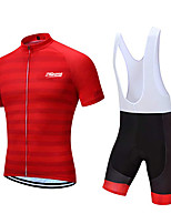 cheap -21Grams Men's Short Sleeve Cycling Jersey with Bib Shorts Polyester Red+Black Geometic Bike Clothing Suit UV Resistant 3D Pad Quick Dry Sports Solid Color Mountain Bike MTB Road Bike Cycling Clothing