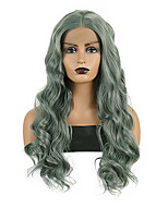 cheap -Synthetic Lace Front Wig Body Wave Middle Part Lace Front Wig Long Green Synthetic Hair 18-26 inch Women's Heat Resistant Synthetic Easy dressing Green / Natural Hairline