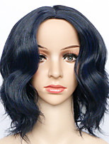cheap -Synthetic Wig Curly kinky Straight Asymmetrical Wig Short Blue Synthetic Hair 7 inch Women's Best Quality Blue
