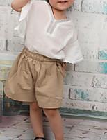 cheap -Kids Girls' Basic Color Block Short Sleeve Clothing Set White