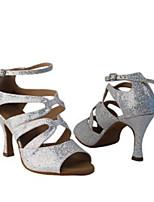 cheap -Women's Latin Shoes PU Heel Thick Heel Dance Shoes Silver