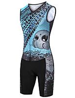 cheap -21Grams Women's Sleeveless Triathlon Tri Suit Black / Blue Skull Bike Clothing Suit UV Resistant Breathable Quick Dry Sweat-wicking Sports Skull Mountain Bike MTB Road Bike Cycling Clothing Apparel