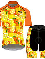 cheap -21Grams Women's Short Sleeve Cycling Jersey with Shorts Red / Yellow Fruit Lemon Bike Clothing Suit Breathable 3D Pad Quick Dry Ultraviolet Resistant Reflective Strips Sports Fruit Mountain Bike MTB
