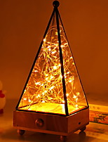 cheap -Pyramid Shape Decoration Light with String Light Wood Base Creative Night Light Staycation USB 1pc