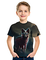 cheap -Kids Boys' Active Street chic 3D Animal Print Short Sleeve Tee Rainbow