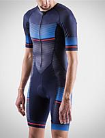 cheap -21Grams Men's Short Sleeve Triathlon Tri Suit Blue Bike Clothing Suit UV Resistant Breathable Quick Dry Sweat-wicking Sports Horizontal Stripes Mountain Bike MTB Road Bike Cycling Clothing Apparel